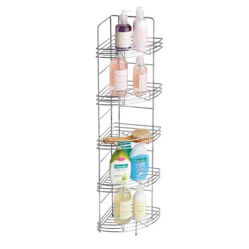 Metal Free Standing Shower Caddy Chrome Bathroom Shelves