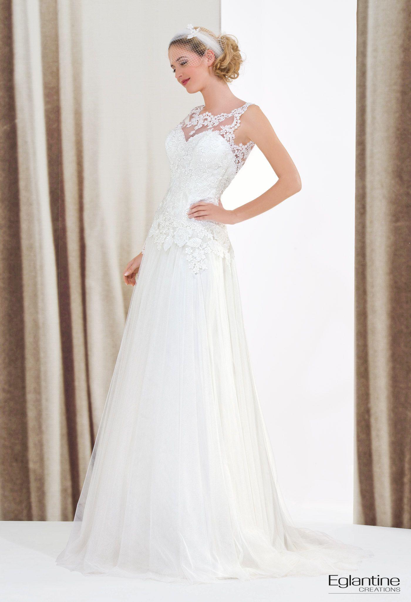 Brautkleid in einem schicken Bohemestil. Mit Guipüre-Spitze, auch ...