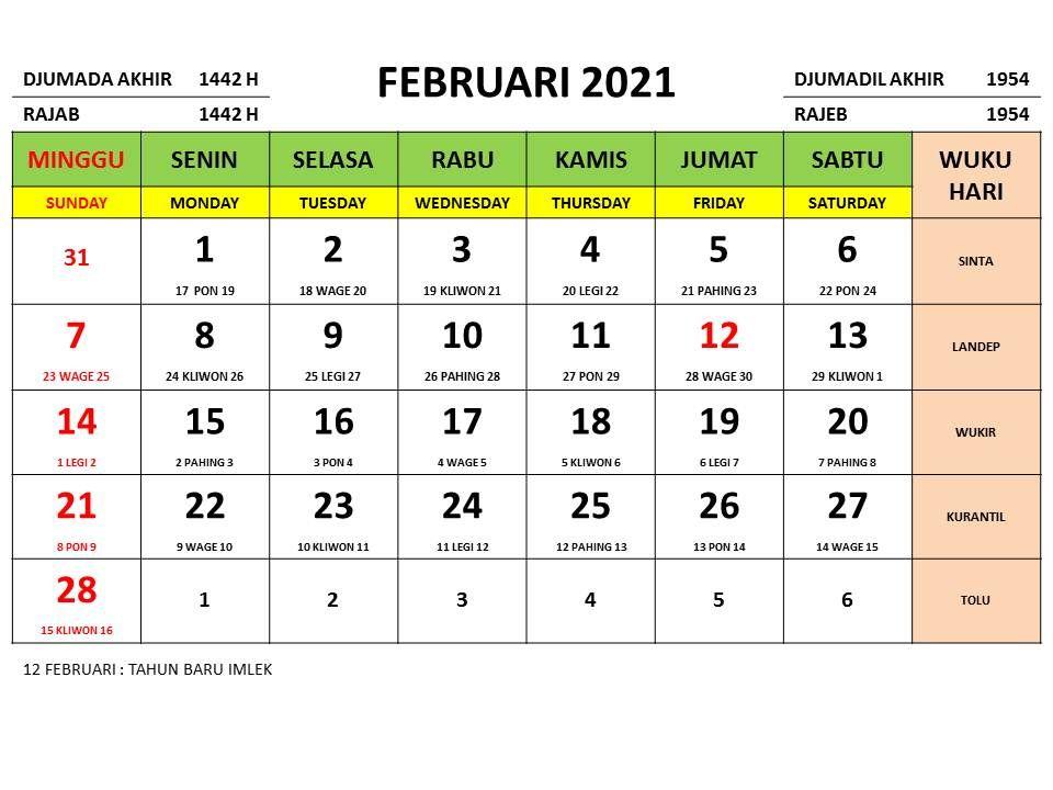 Kalender Nasional Tahun 2021 Lengkap Dengan Tanggalan Jawa Dan Islam Kalender Tanggal Pemerintah
