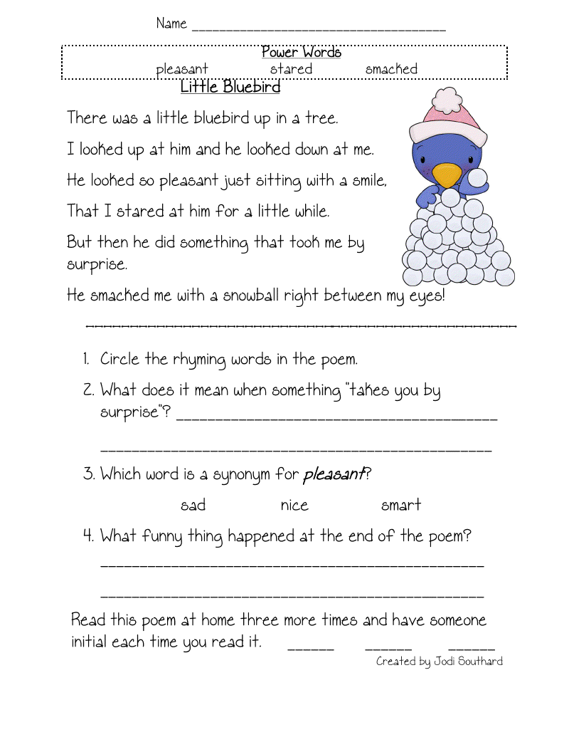 Fun in First Grade Fluency Comprehension and Vocabulary – 2nd Grade Reading Worksheets
