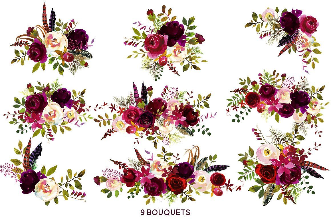 Boho Bordo Watercolor Flowers Watercolor Flowers Red And White Flowers Wedding Flowers