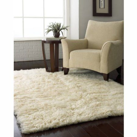 Flokati Area Rug 5x7 Natural Wool White Heavy Soft Carpet Home Kitchen