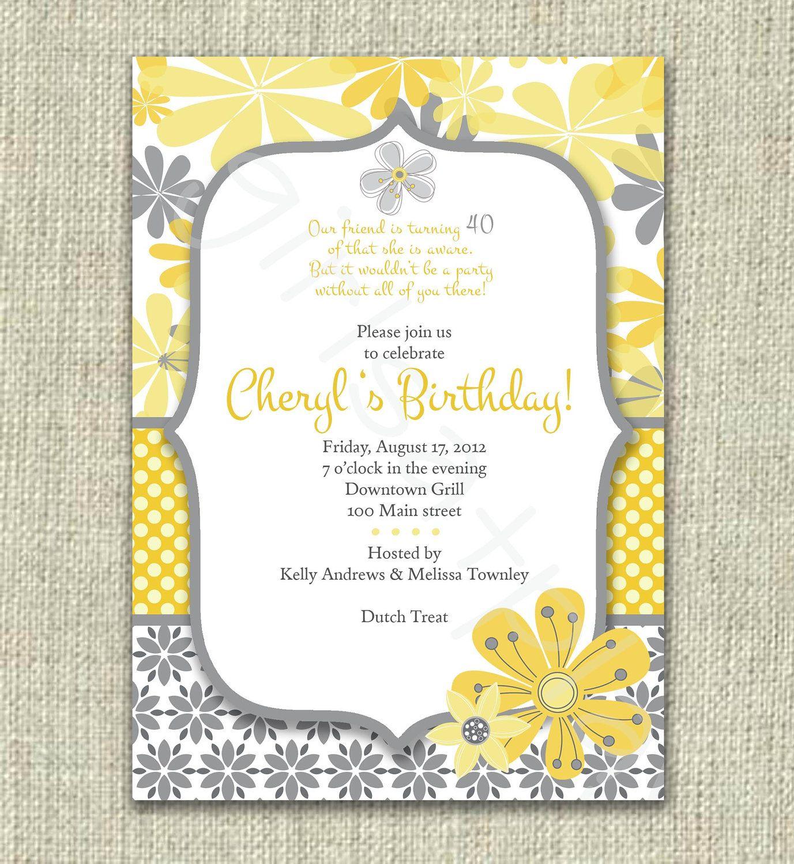 Modern 40th 50th Birthday Invitation Invite Yellow Gray Flowers Mod ...