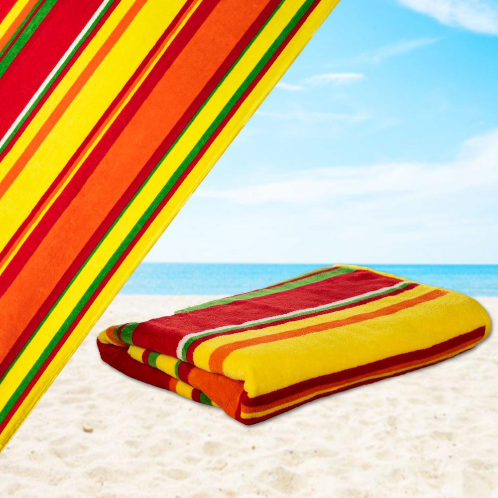Mardi Gras 100 Cotton Velour Striped Cabana Beach Towel Pool Oversize Citrus Orange Red 34 X 64 Cabana Beach Towel Beach Towel Colorful Beach Towels