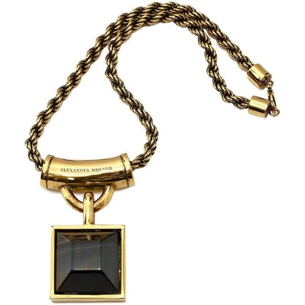 Alexander McQueen Square Enamel Necklace (€770) ❤ liked on Polyvore featuring jewelry, necklaces, gold, pendants & necklaces, square pendant necklace, square necklace, alexander mcqueen jewelry and enamel necklace