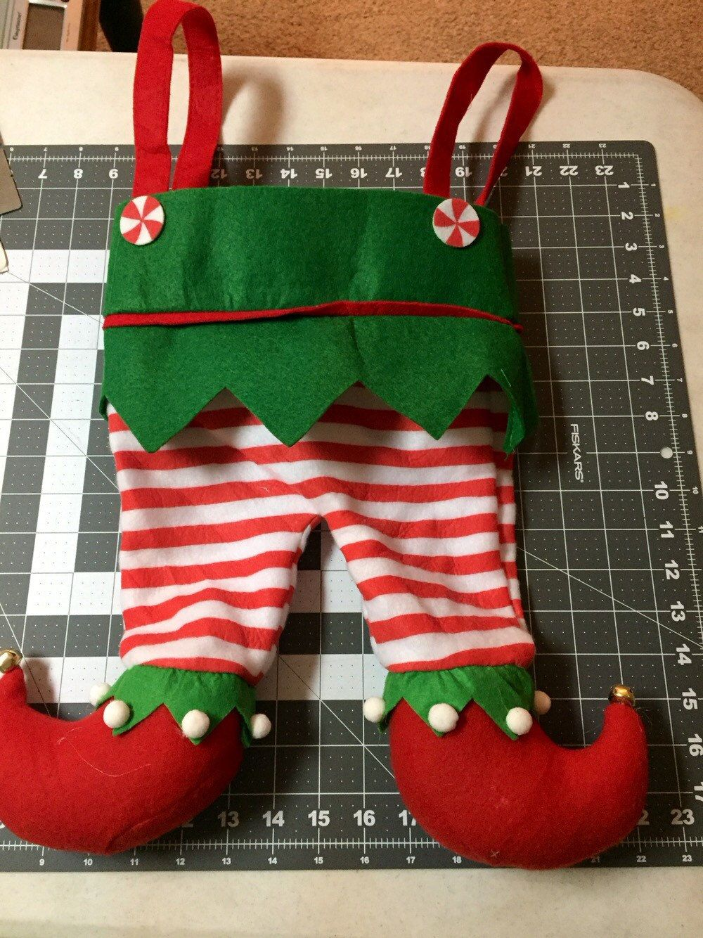 Elf Stocking - Elf pants - Embroidered Christmas Stocking ...