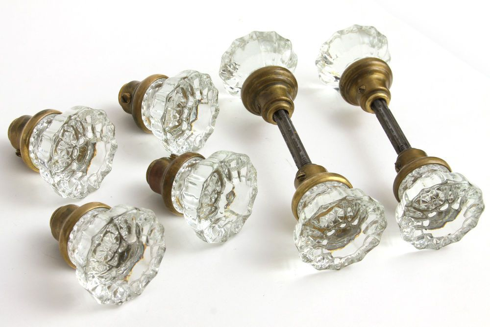 Lot 8 Antique Crystal Door Knobs 12-Point Matching 4 Sets Brass Clear Vtg Glass