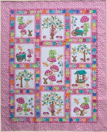 Fairy tales pink by kids quilts quilt pattern for Childrens quilt fabric