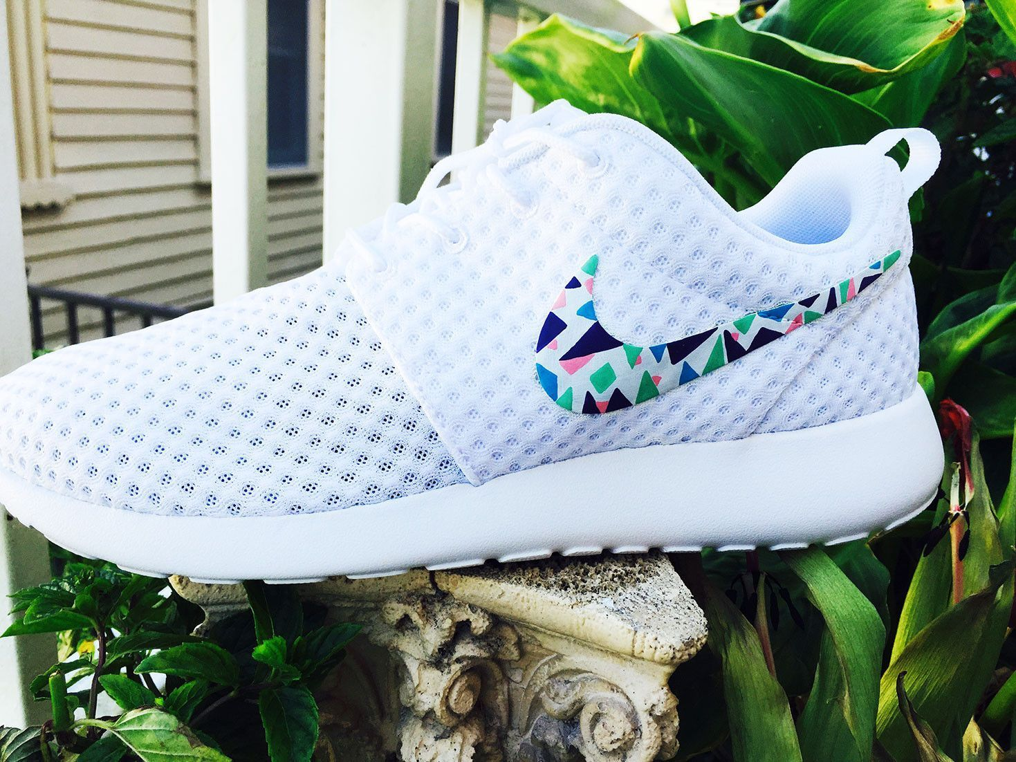innovative design d0eed 71683 ... inexpensive womens custom nike roshe run sneakers triangles purple pink  teal blue 89b8f 38bfb