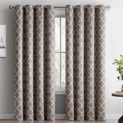 "Red Barrel Studio Lattice Geometric Blackout Thermal Grommet Curtain Panels Color: Taupe, Size: 52"" W x 96"" L"