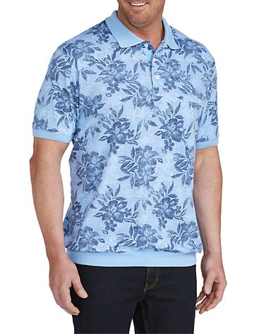 Harbor Bay by DXL Big and Tall Floral Print Banded Bottom Polo Shirt