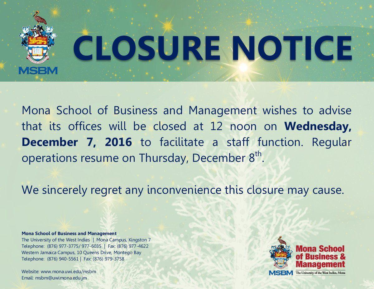 Msbm Closure Notice Jamaica Announcement Business School