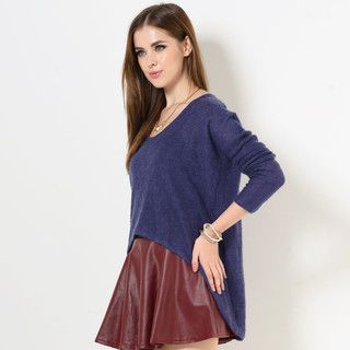 Long-Sleeved Dip-Back Knit Top from #YesStyle <3 YesStyle Z YesStyle.co.uk