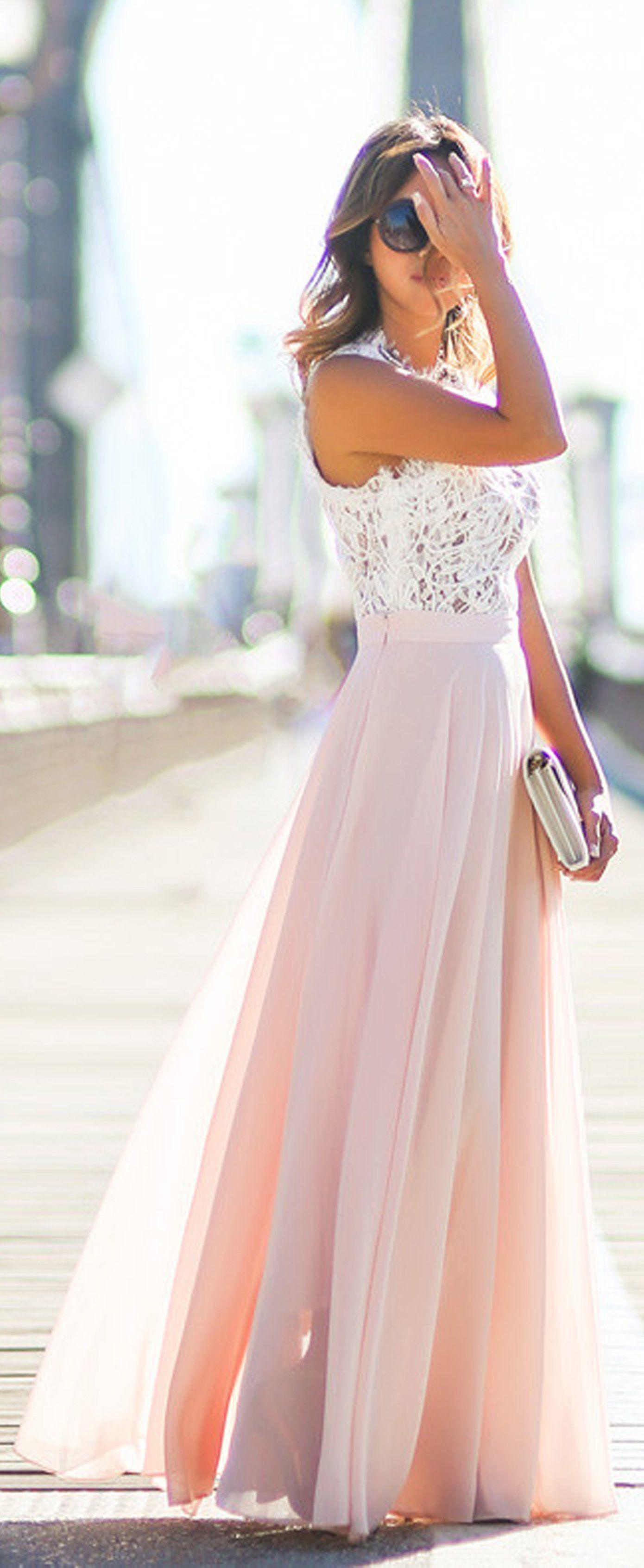 Ellisia white lace chiffon skirt long maxi dress vestido par