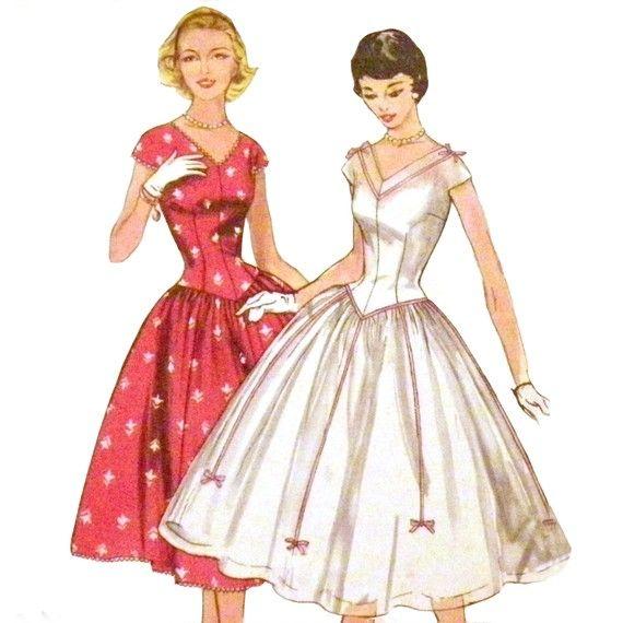 1950s Basque Waistline Party Dress Pattern  by VtgSewingPatterns, $15.00