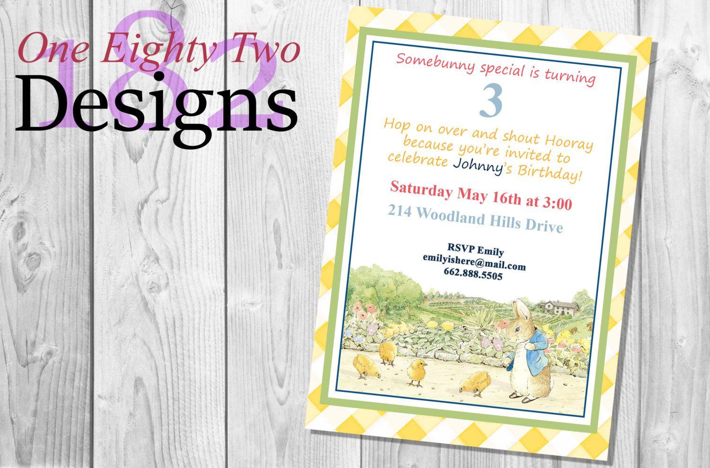 Peter Rabbit Invitation Invite Birthday Party 5x7 digital image ...