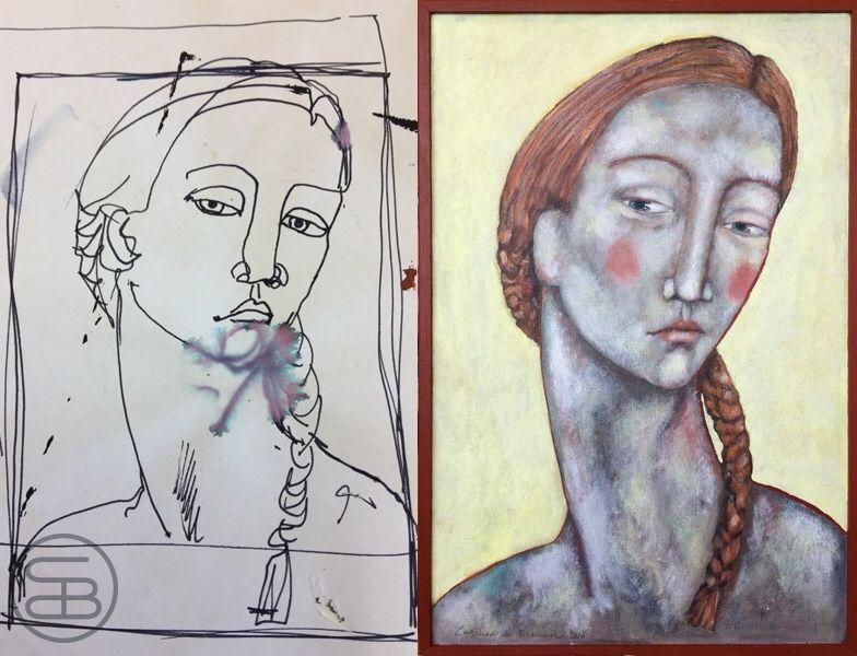 Sketch and painting of 'portrait with orange braid'.  -Schets en schilderij van 'portret met oranje vlecht' #art #dutchart #painting #kunst #schilderij #picasso #portrait