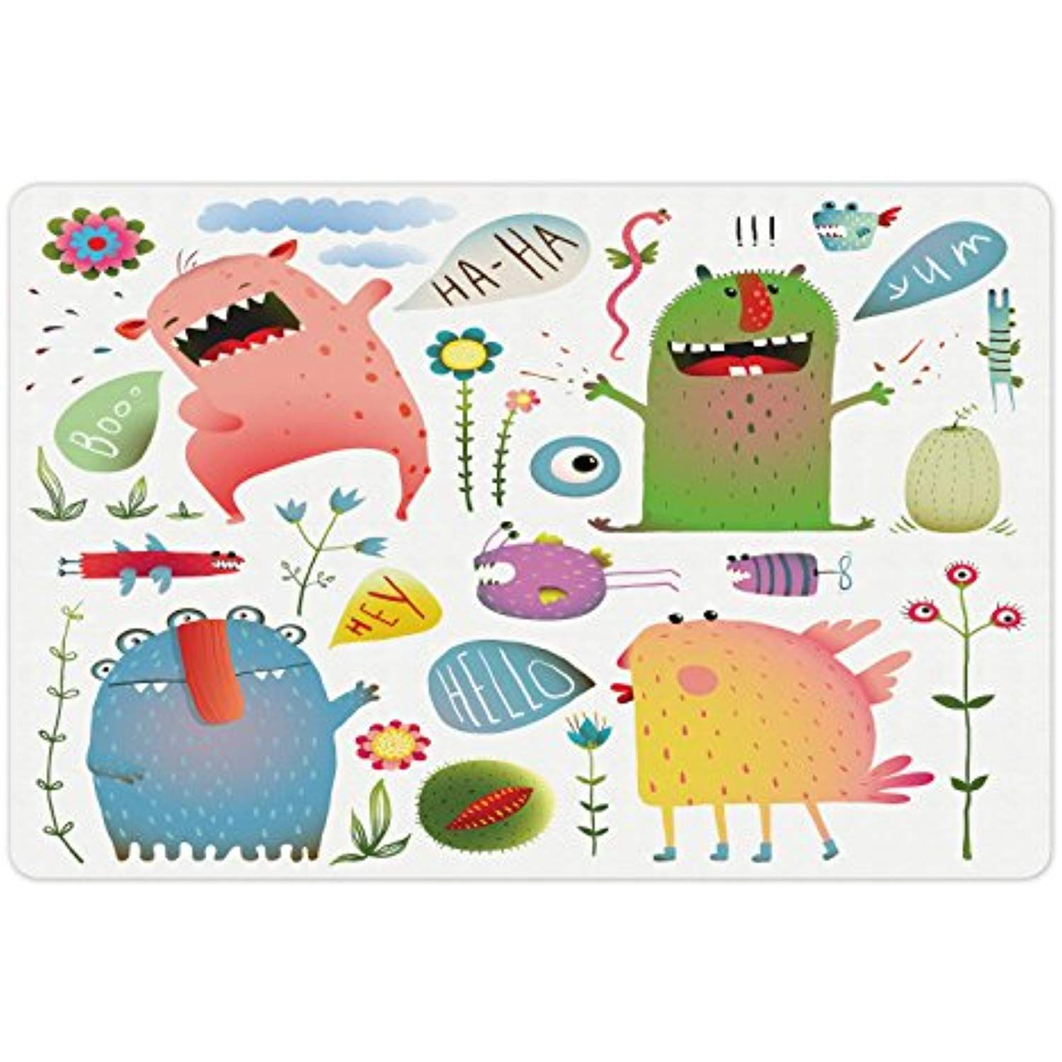 Monster Pet Mats for Food and Water by Ambesonne, Cute