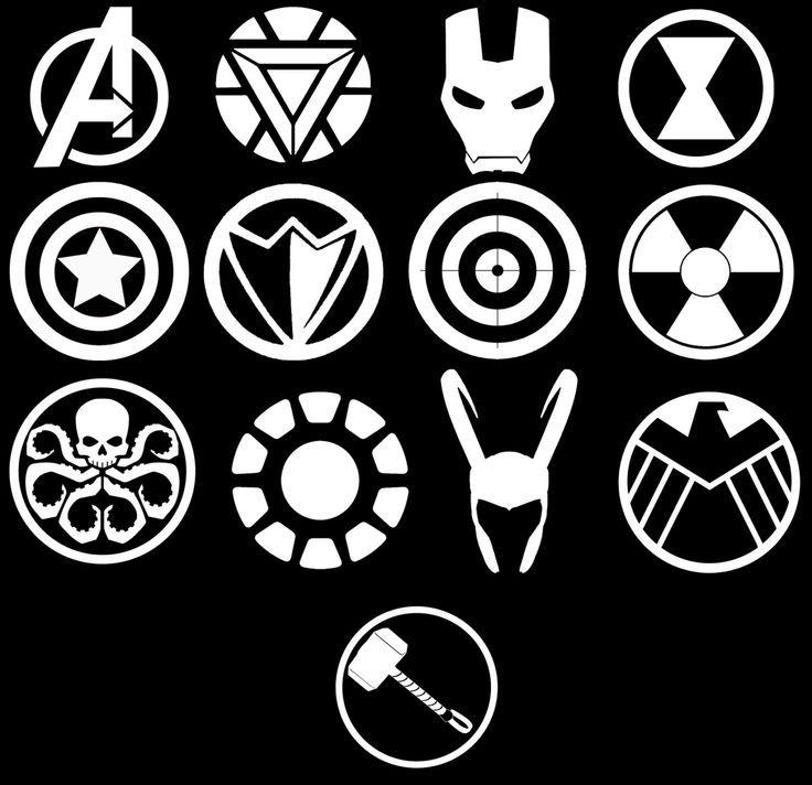 Marvel Avengers Symbols Vinyl Car Decal By Wibblywobblythings On