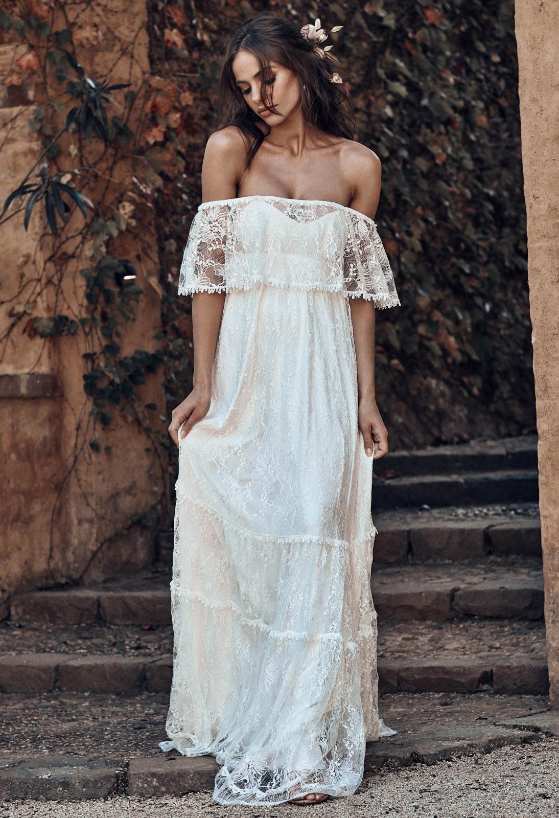 Off the shoulder bohemian wedding dress  Franca  BOHEMIAN BRIDE  Pinterest  Wedding Bridal dresses and