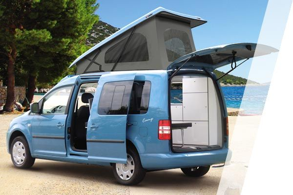 minicamper camp auf volkswagen caddy langer radstand. Black Bedroom Furniture Sets. Home Design Ideas