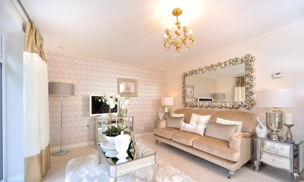 silver glass living room furniture%0A Interior Designed living room using soft blush pink   mink and cream colour  scheme  metallic wall paper and silver mirrored furniture