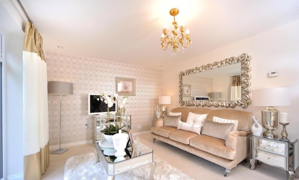 Interior Designed Living Room Using Soft Blush Pink Mink And Cream Colour Scheme Metallic