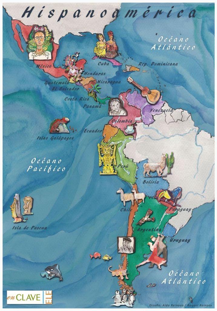 Carte Des Pays Hispanophones Dans Le Monde : carte, hispanophones, monde, Mapas, Culturales, Espagnol.hispania, Hispanophones,, Carte, Amerique,, Amérique, Latine