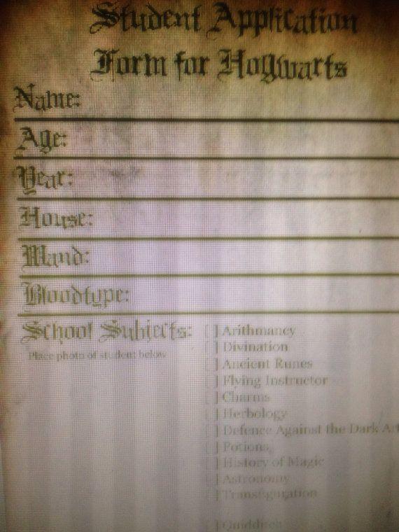 Hogwarts Student Application Form (1) Harry Potter Wishlist - application form