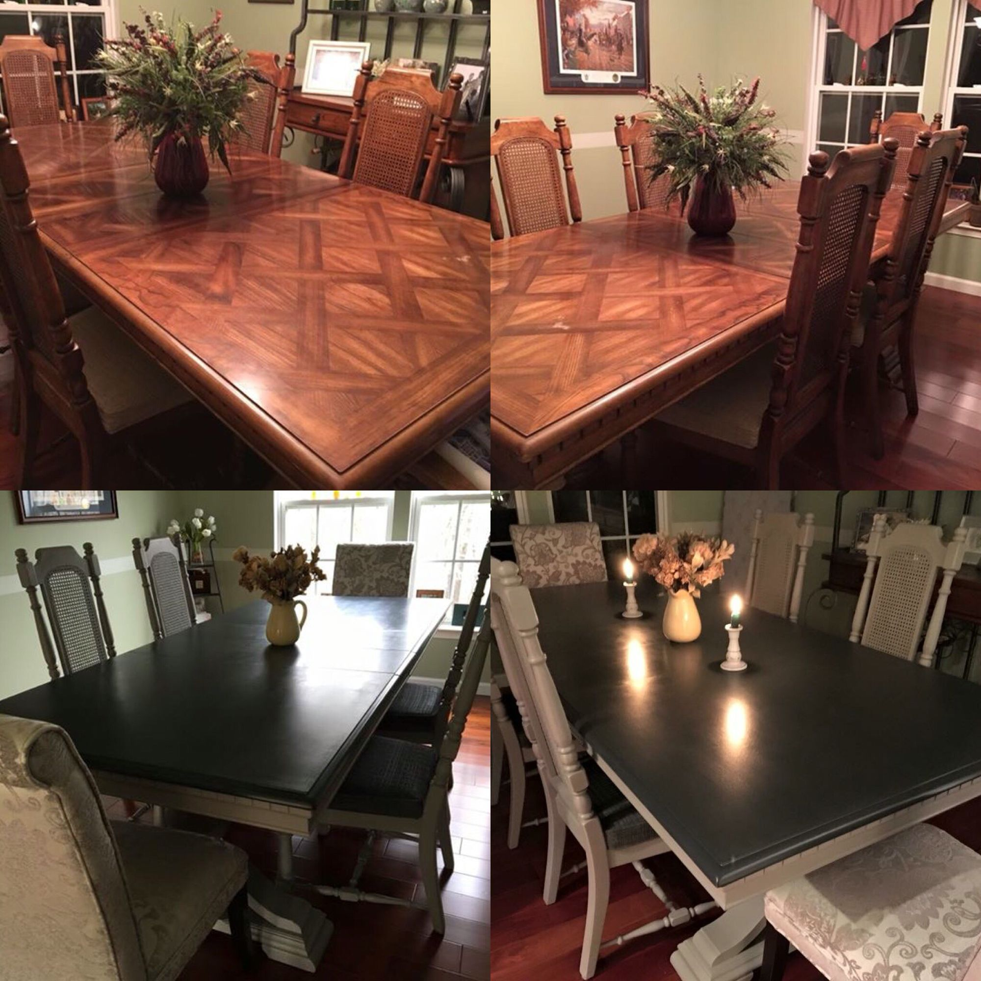 Dining room table with Java gel stain top and French linen base ...