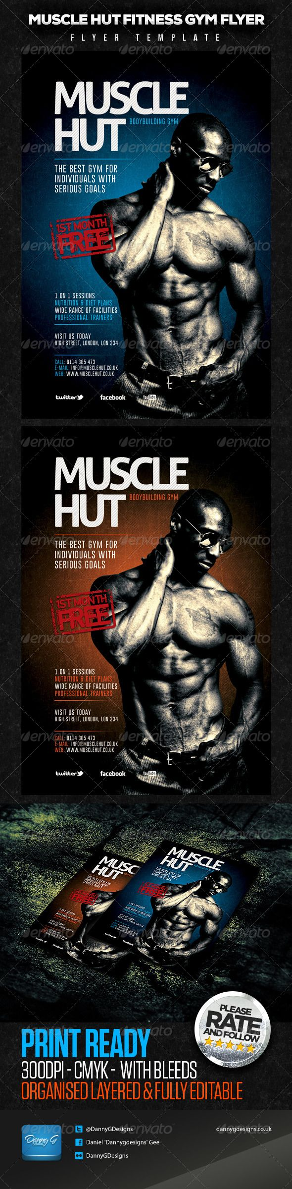 Muscle Hut BodybuildingFitness Flyer Template  Flyer Template