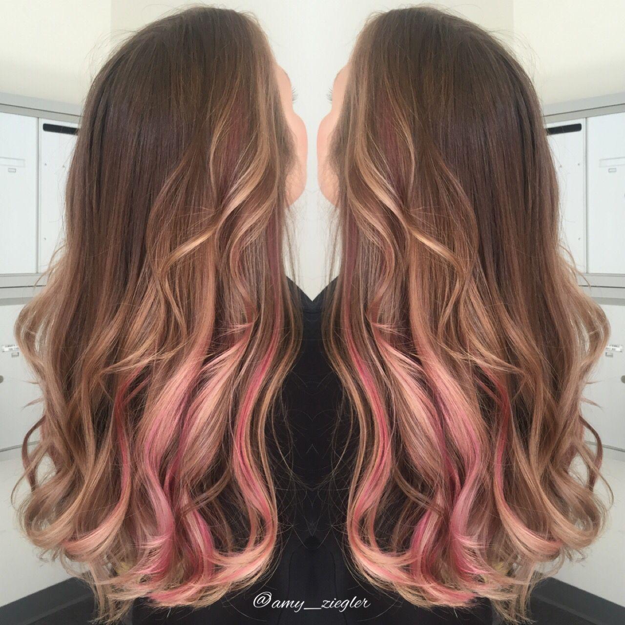 Soft Pink Peekaboo With Blonde Balayage By Amy Ziegler Askforamy Versatilestrands Pink Hair Tips Pink Hair Highlights Blonde Balayage