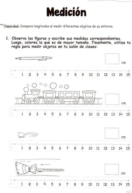 Observa las figuras y escribe sus medidas correspondientes - Metro para medir ...