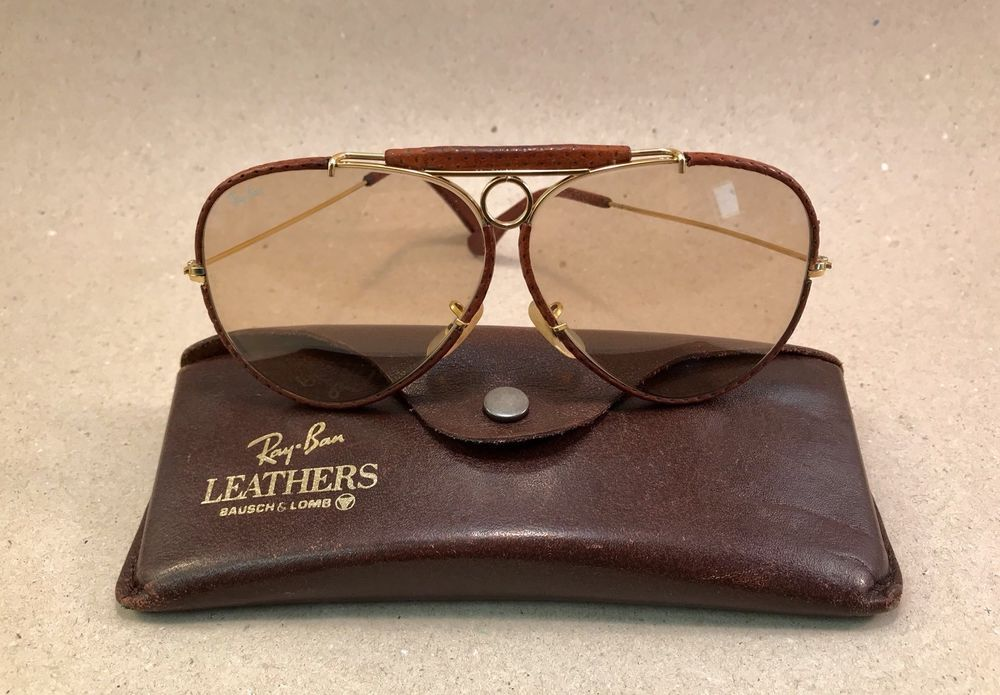 Vintage Ray Ban Leathers Shooter Changeable Brown 62    14 B L USA Bausch  Lomb ecf2510ea27e