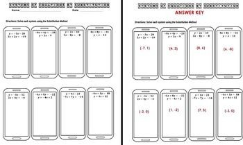 Systems Of Equations Substitution Worksheet Task Cards Exit Tickets