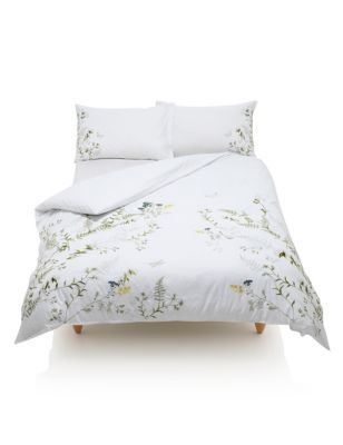 Pure Cotton Botanical Embroidered Bedding Set M S Embroidered Bedding Bedding Sets Bedding Set