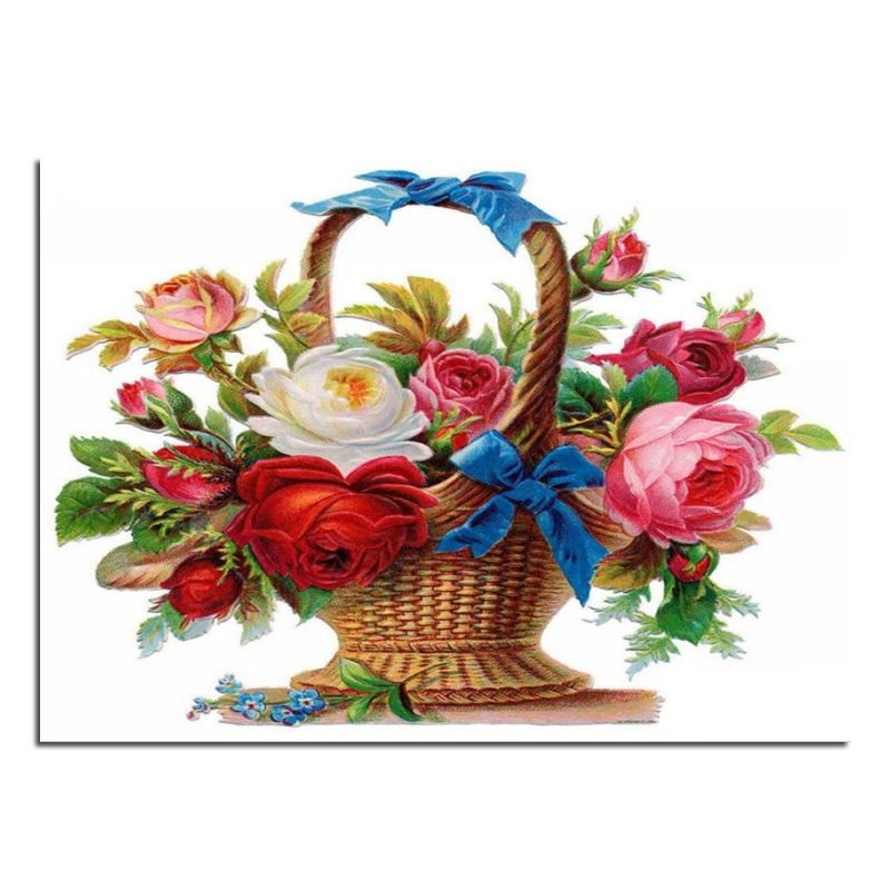 Rose Flower Basket 70x50cm Cross Stitch Diy Full Diamond Drawing Square Supplies Embroidered Paste Mosaic Hom Flower Painting Cross Paintings Vintage Flowers