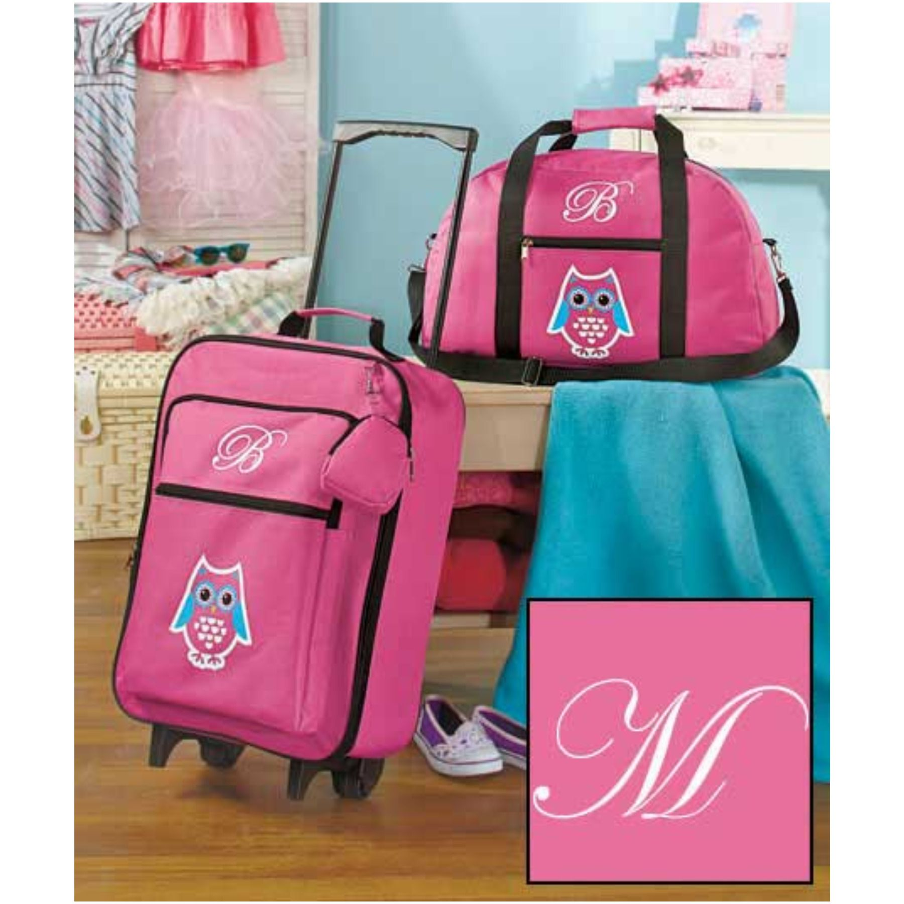 Pink Polka Dots Girls 3-Piece Monogram Luggage Set Monogram Letter B
