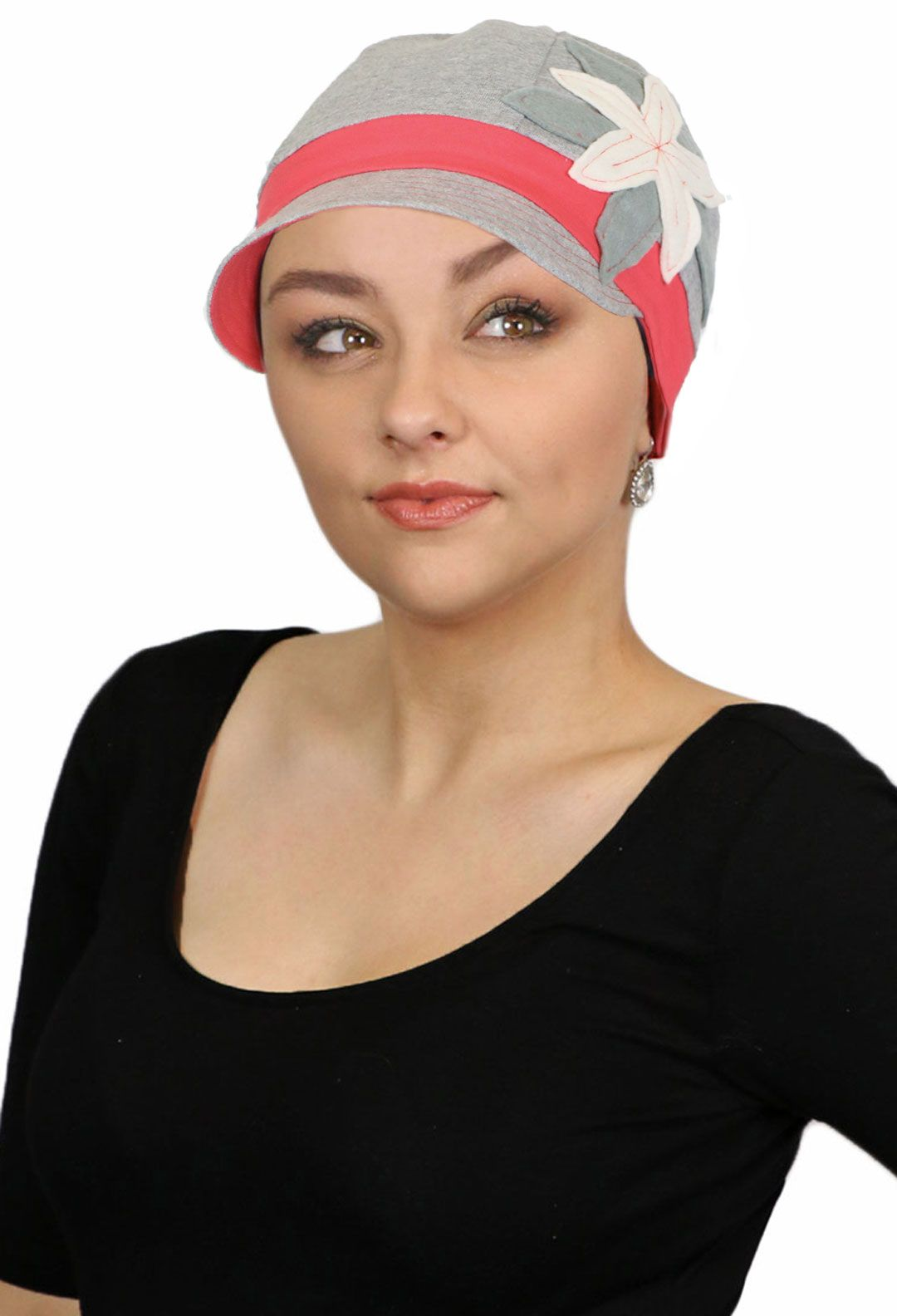 b6d8961810c2d Whimsy Copacabana Hat for cancer patients. Soft heather grey cotton trimmed  with coral band and