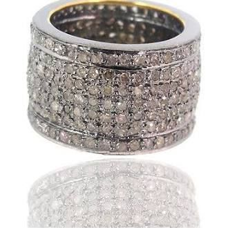 14k Gold 3.31ct Diamond Pave Band Indian Ring 925 Sterling Silver Fine Jewelry