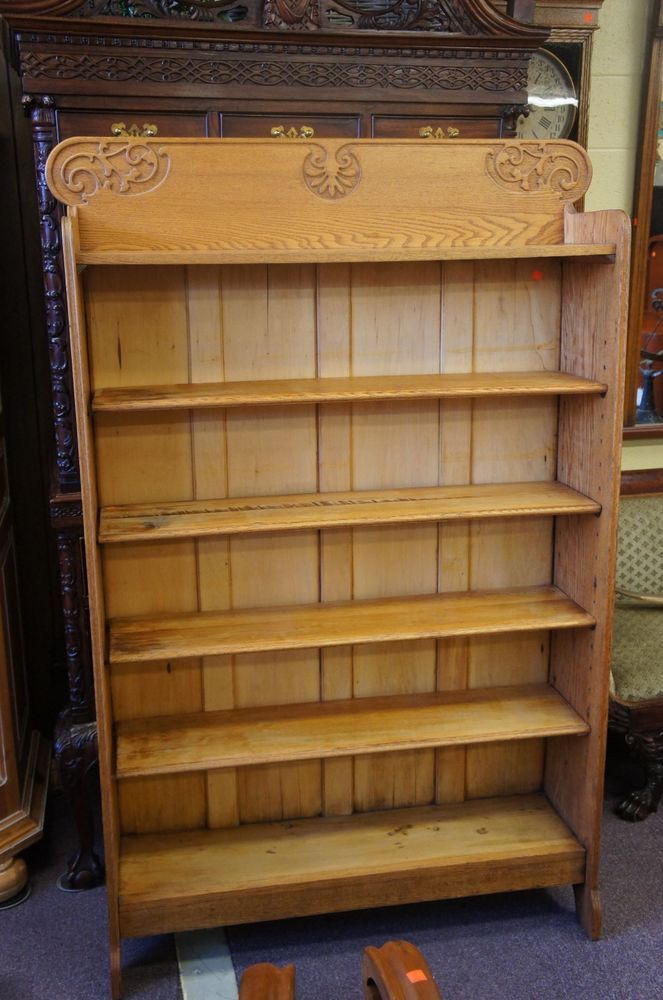 Antique Oak Bookshelf From Rockford Illinois It Is An And The Top Of Decorated With Ornate Designs This Piece Has Hooked Metal Pegs