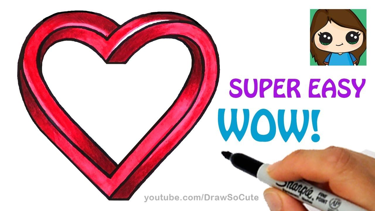 How To Draw Impossible Heart Easy Optical Illusion Fun Youtube Optical Illusions Cool Drawings Heart Drawing