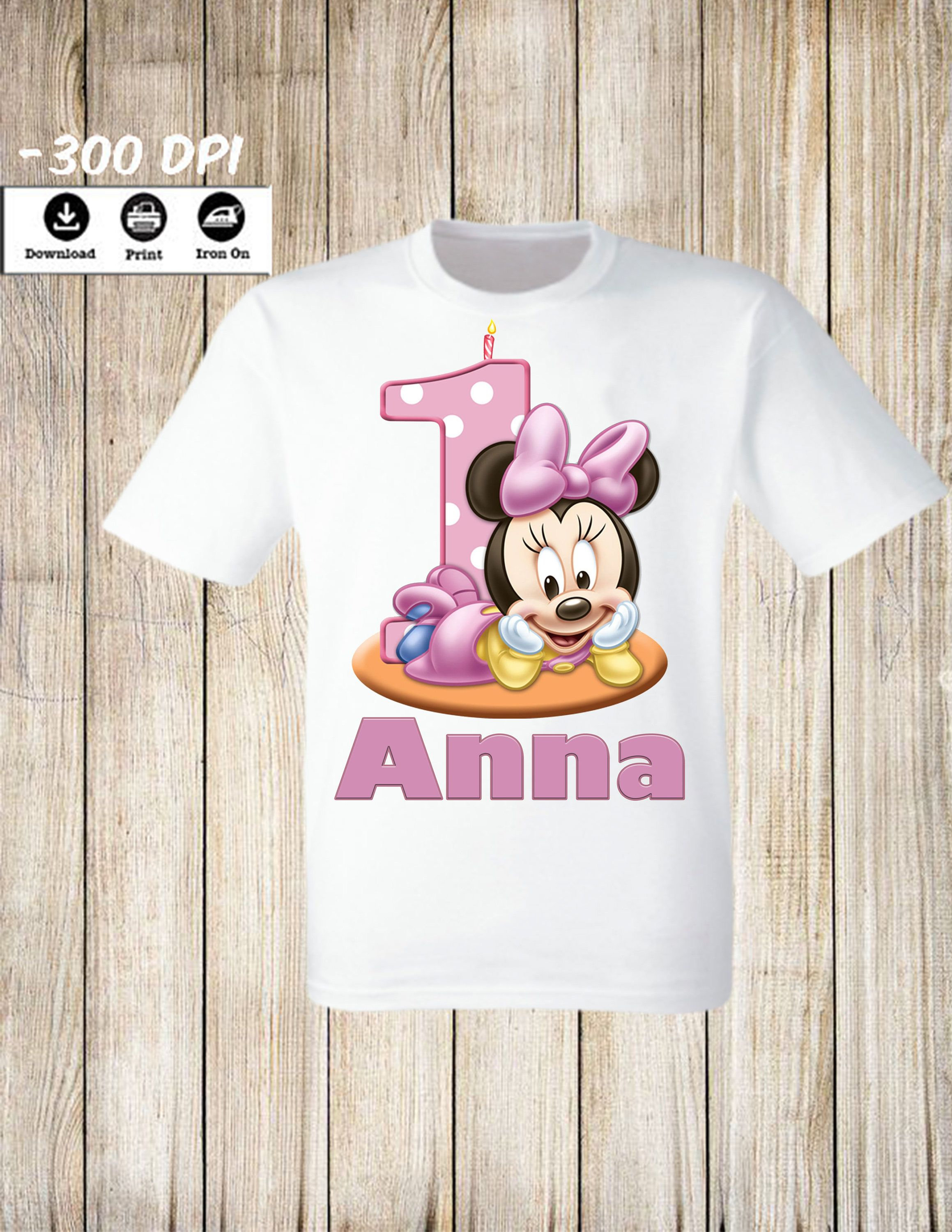 b0fd45dae Personalized Minnie Mouse Birthday Girl iron on t shirt - One Year Old Birthday  Minnie Party Iron on transfer. Party Image.