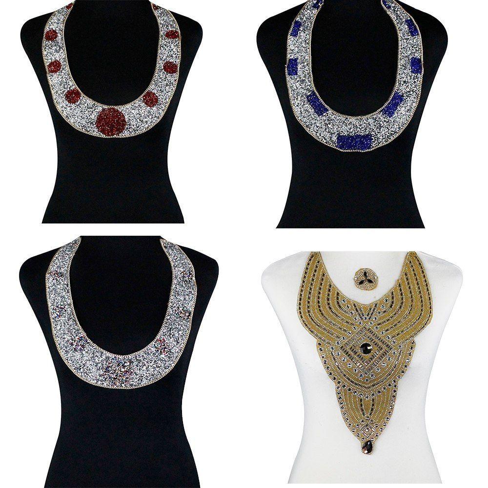5pieces Beaded Diamond Hotfix Motif Transfer Rhinestones Iron on Crystal  Collar Applique Sticker for Clothes. 432fdeacc163