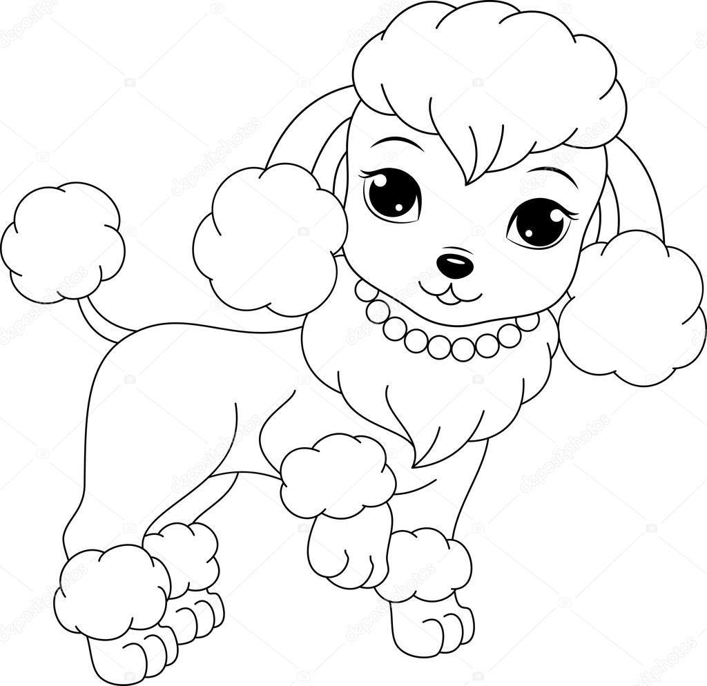 Página para colorir de poodle glamourosa | meninas top | Pinterest ...
