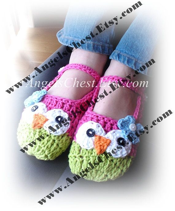 PDF Crochet Pattern Owl Mary Janes Slippers Sizes Preteen to Adult ...