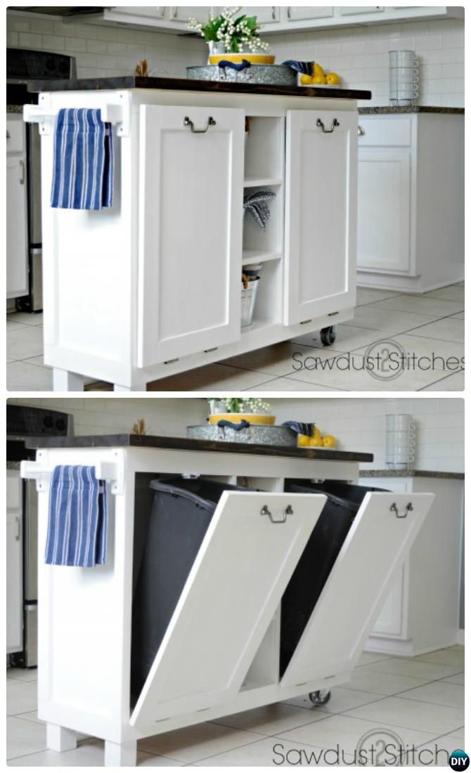DIY Cabinet Kitchen Island With Tilt Out Trash Can Smart Ways To Hide Your Trash  Can #Kitchen.