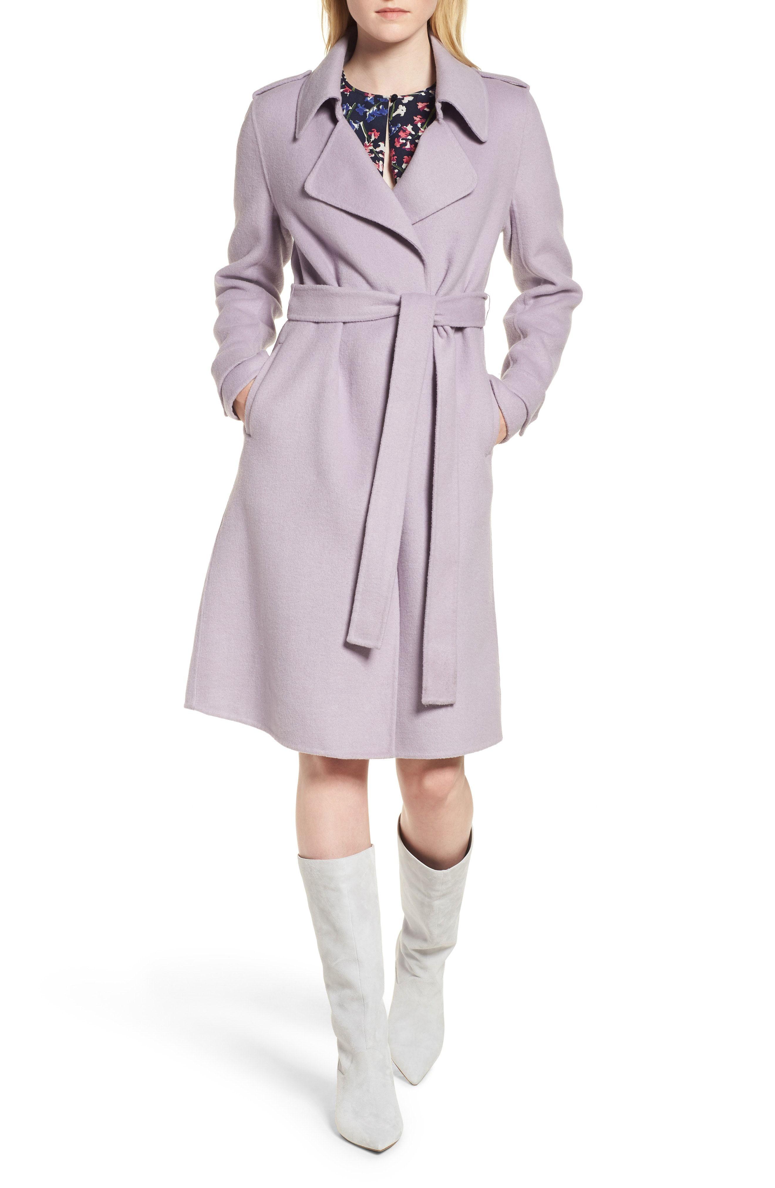 e5bbe9cb978 Badgley Mischka Double Face Wool Blend Wrap Front Coat (Regular   Petite)
