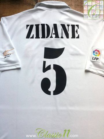 668f7e823bf Relive Zinedine Zidane s 2002 2003 La Liga season with this vintage Adidas Real  Madrid home football shirt.