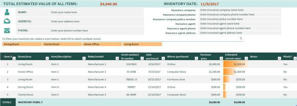 Home Inventory Spreadsheet Template For Excel   Inventory Sheet ...
